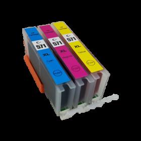Cartouches encre Compatible Canon CLI-571XL - Lot de 3 couleurs