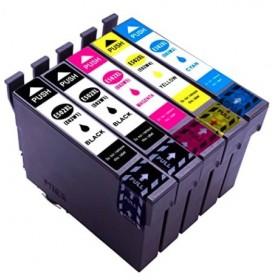 Pack Cartouches d'encre compatible Epson WF-2860 WF-2865 DWF - XL - Noir - Couleurs (2x18.2ml + 3x14ml) Lot de 5
